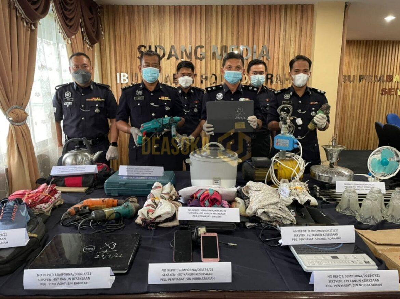 Polis tahan 12 lelaki, selesai 12 kes pecah rumah di Semporna